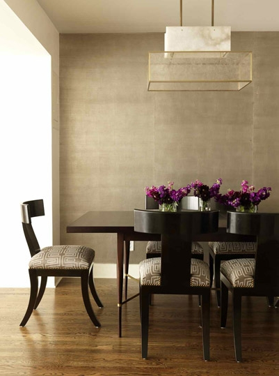 Sleek And Modern With No Rug I Think That Is Grasscloth In The Background Its Work Of One My Favorite Designers Sara Story Dining Room