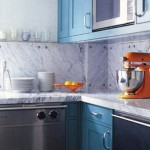marble backsplash blue orange kitchen