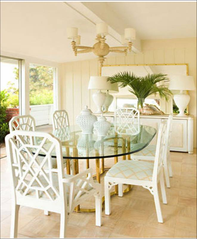 design beach house dining room paneled walls cream white oval table ...